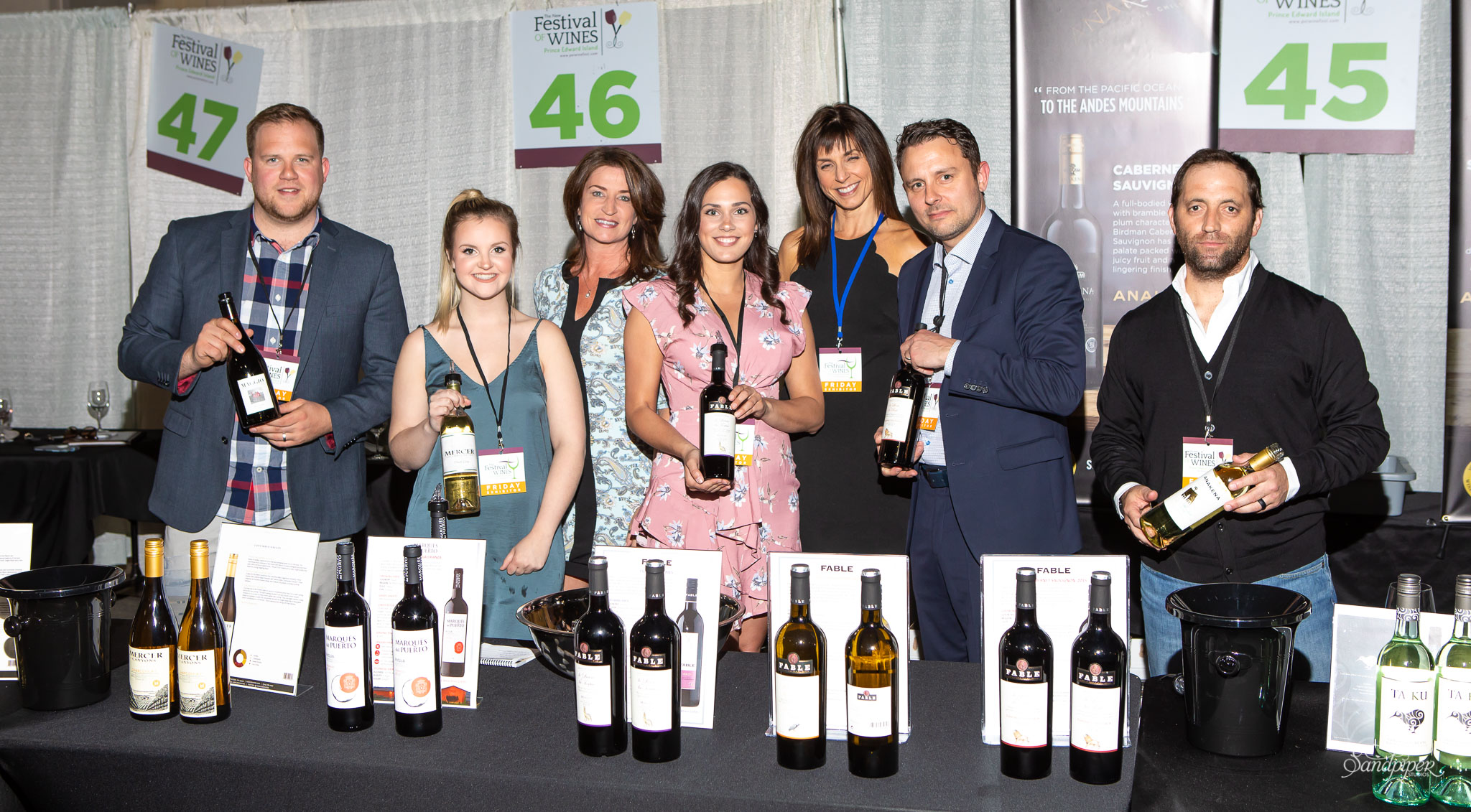 Group of Happy People with Wine at the Festival of Wines 2018