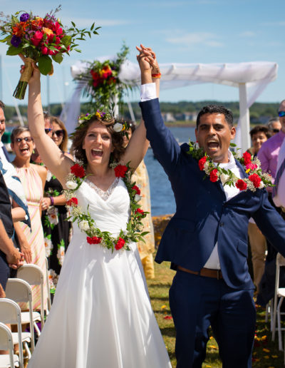Excited Bride And Groom Celebrating Their Marriage captured by PEI Wedding Photographer Sandpiper Studios