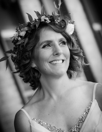 beautiful black and white photo of bride by pei wedding photographer