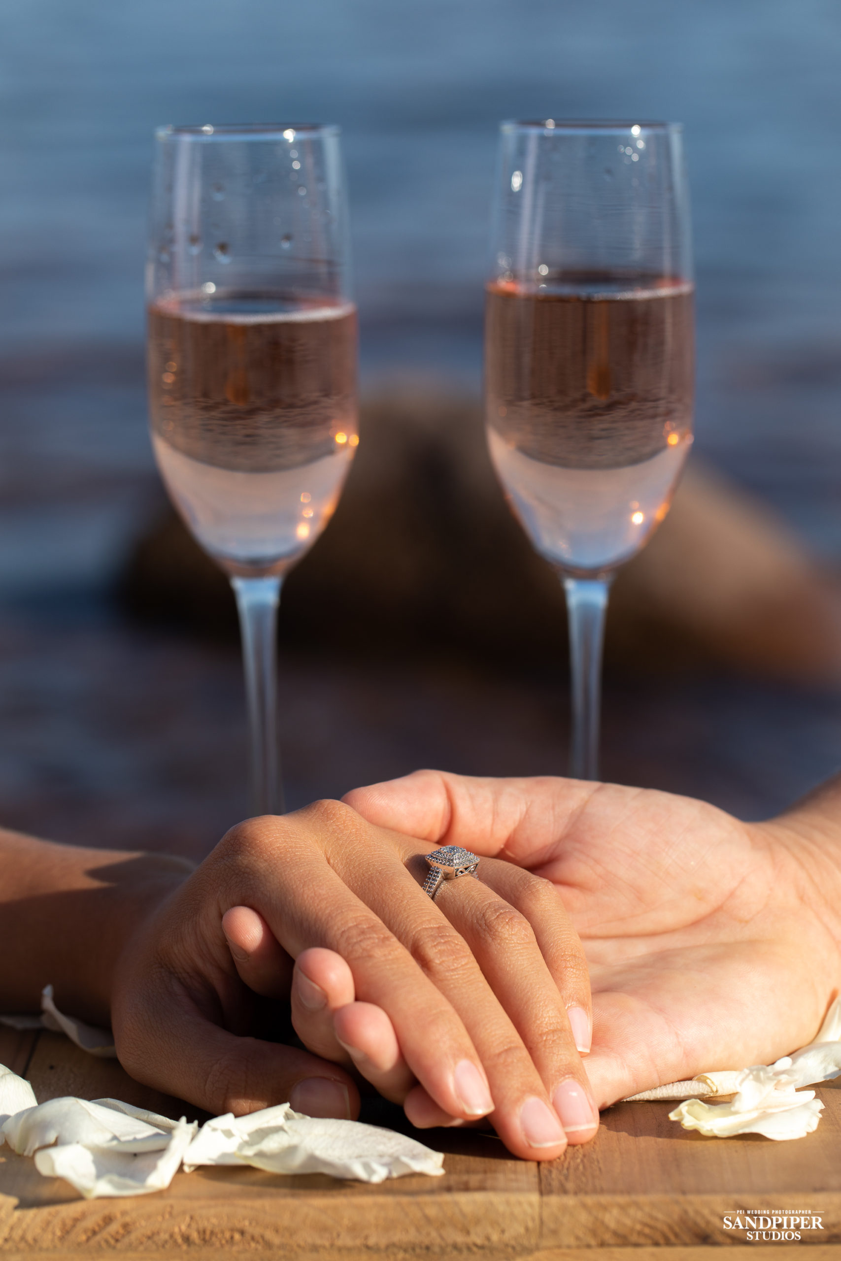 holding hands and engagement ring, pei wedding photographer