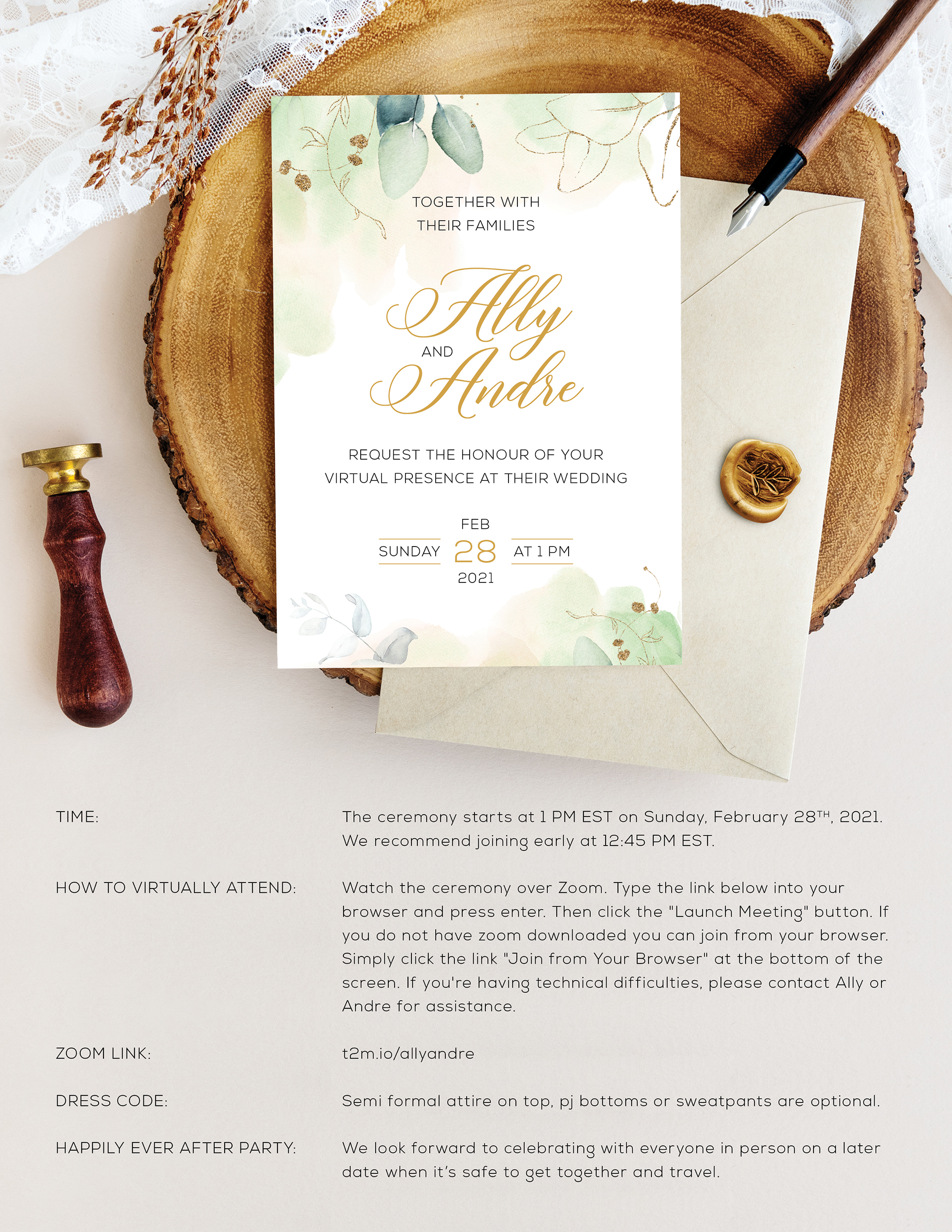zoom wedding invitation